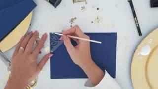 Свадебный конверт своими руками. Синий конверт с золотистым вкладышем и рисунком.