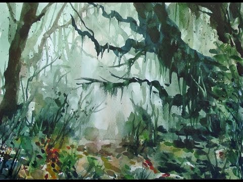 Watercolor jungle 20x speed - painting demonstration