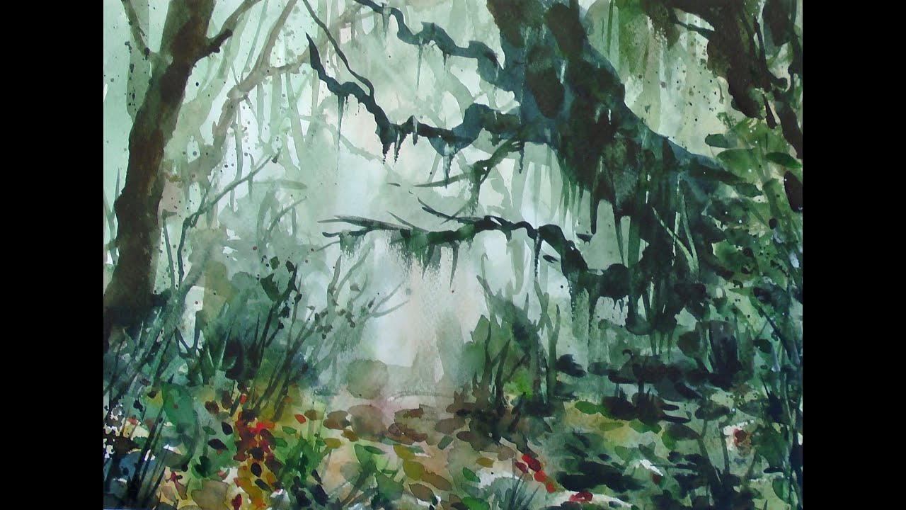 Watercolor jungle 20x speed - painting demonstration - YouTube