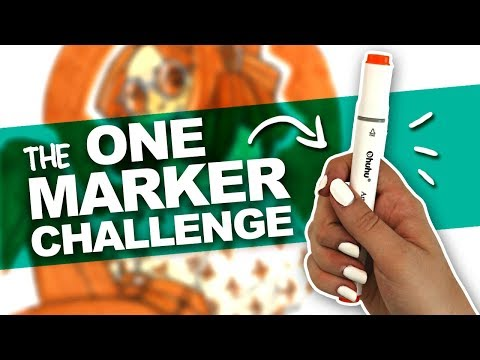 ILLUSTRATION USING ONLY ONE MARKER?! | Ohuhu Marker | Art Challenge