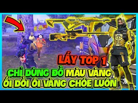 (FREE FIRE) CHỈ XÀI ĐỒ SKIN MÀU VÀNG TOP 1, CẦM MP40 BÍCH VÀNG VÀ AWM BÁO ĐỐM HÙNG TOÀN DAME ĐỎ KÌA
