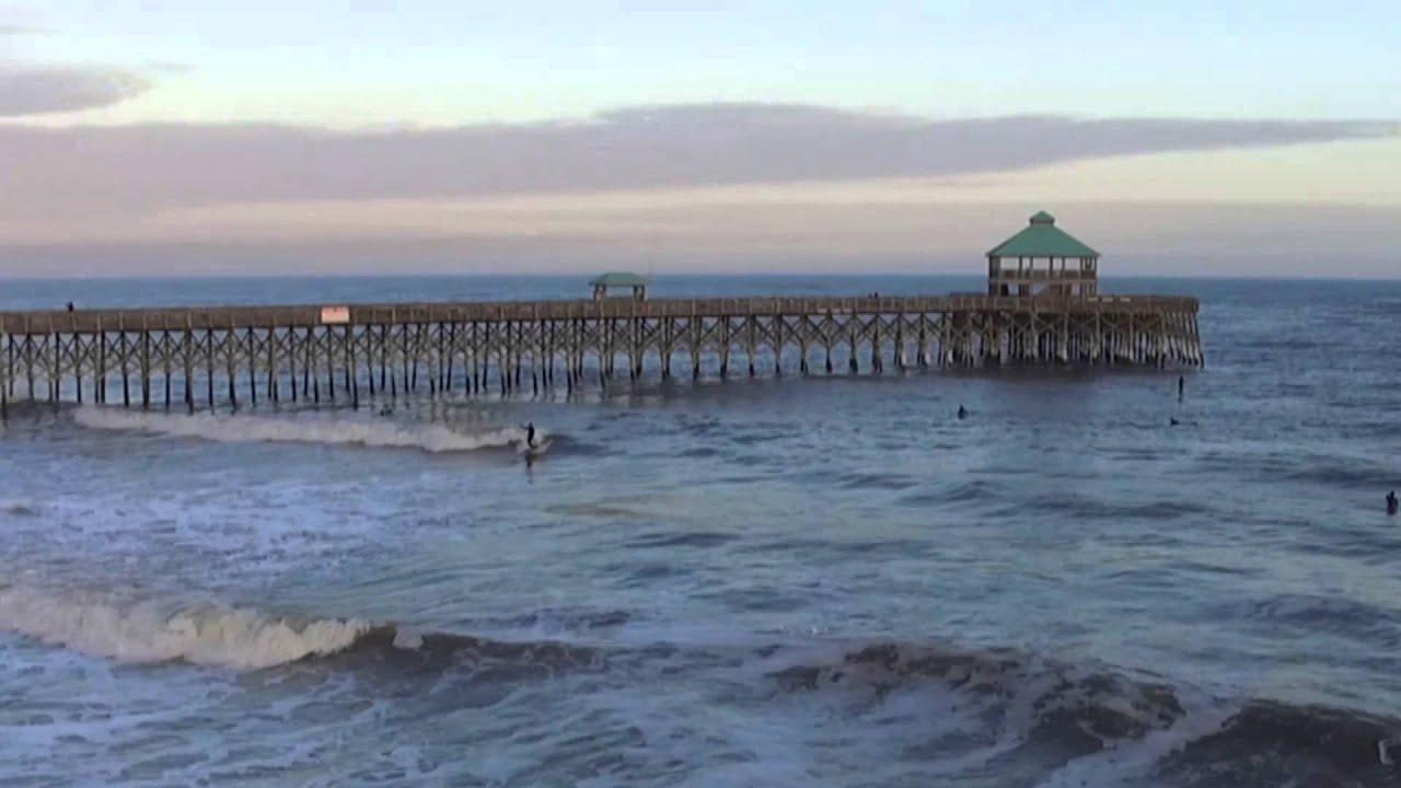 Folly Beach Pier Drone Phantom 3 Surf Sup Kite