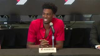Watch: Portland Trail Blazers introduce center Hassan Whiteside at press conference in Las Vegas