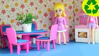 How to make a mini doll dinning room set with cardboard and paper- Doll Crafts - simplekidscrafts