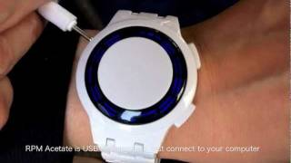 Kisai RPM Acetate White Limited Edition Blue LED Watch Design From Tokyoflash Japan
