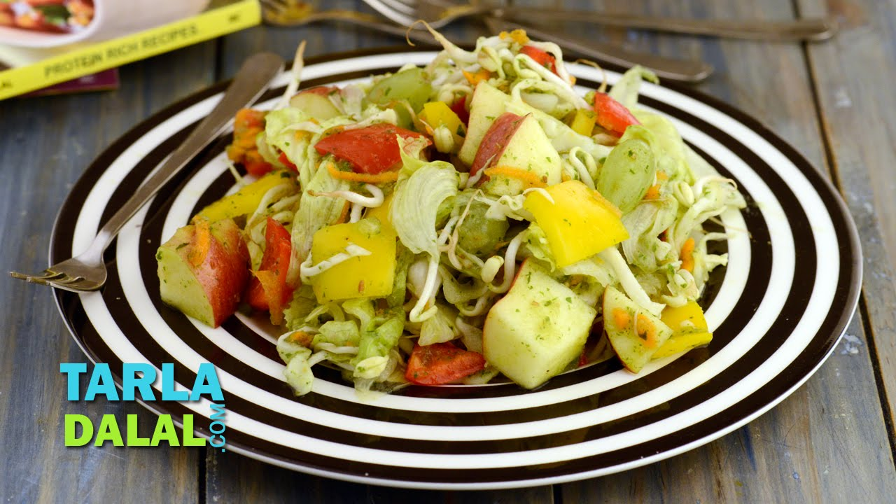 Apple And Lettuce Salad With Melon Dressing Fibre And Vitamin Rich By Tarla Dalal Youtube
