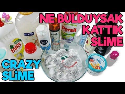 Ne Bulduysak Kattık Slime - Crazy Slime Yapımı (istek video)   DIY - Kendin Yap