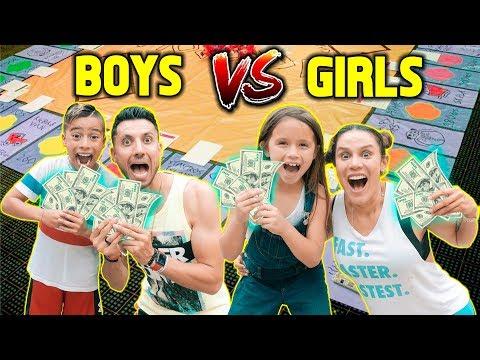 GIANT BOARD GAME CHALLENGE!! WINNER GETS $10,000!!! (BOYS VS GIRLS)   The Royalty Family
