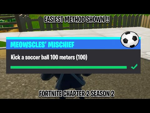 Kick A Soccer Ball 100 Meters | Meowscles Mischief Challenges Fortnite Chapter 2 Season 2