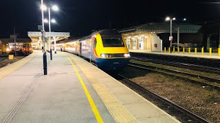 East Midlands trains intercity 125 departs Sheffield bound for Leeds with 43081 leading and 43049