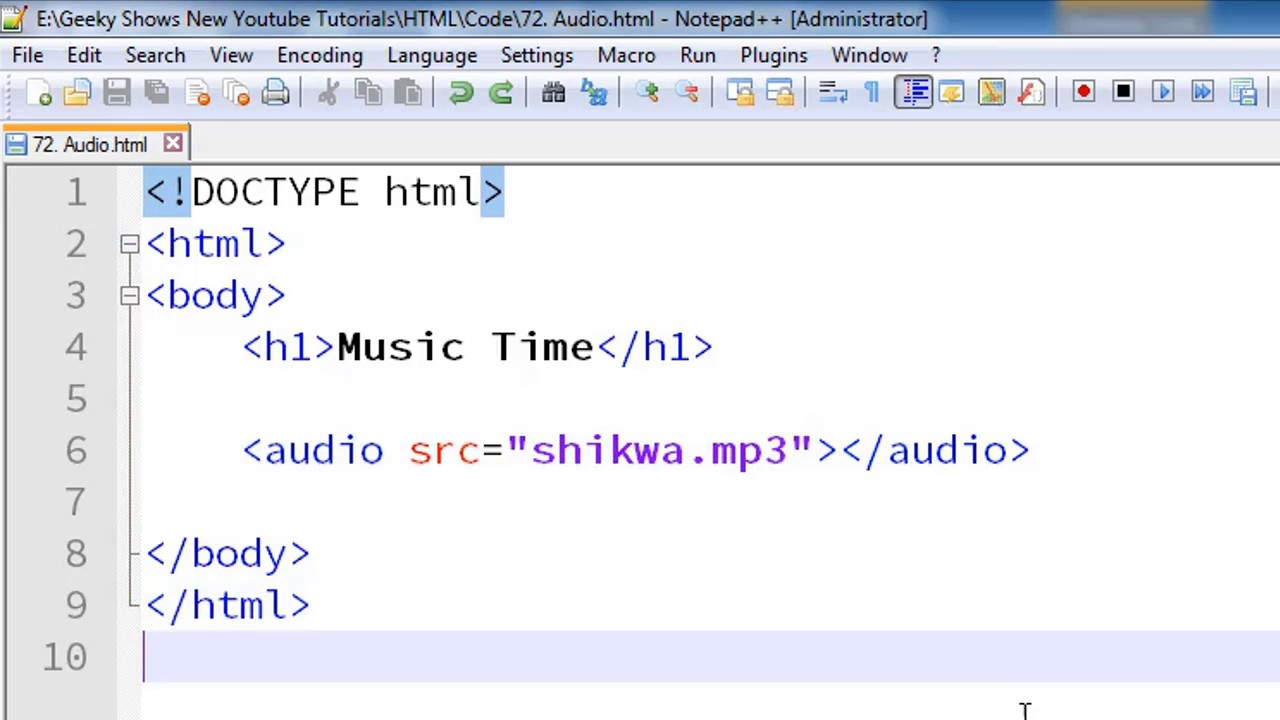 94. How To Set Audio File In Web Page (Hindi)