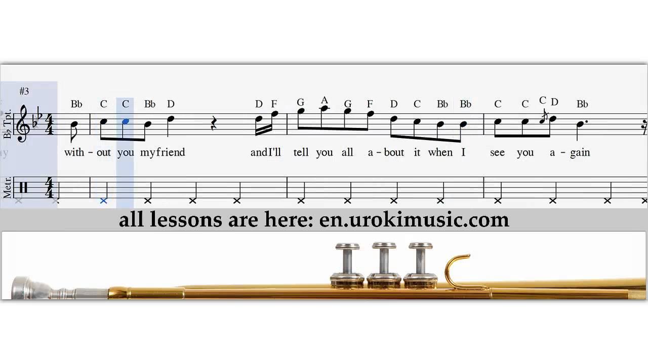 Wiz Khalifa - See You Again - How To Play Trumpet - Sheet Music ...
