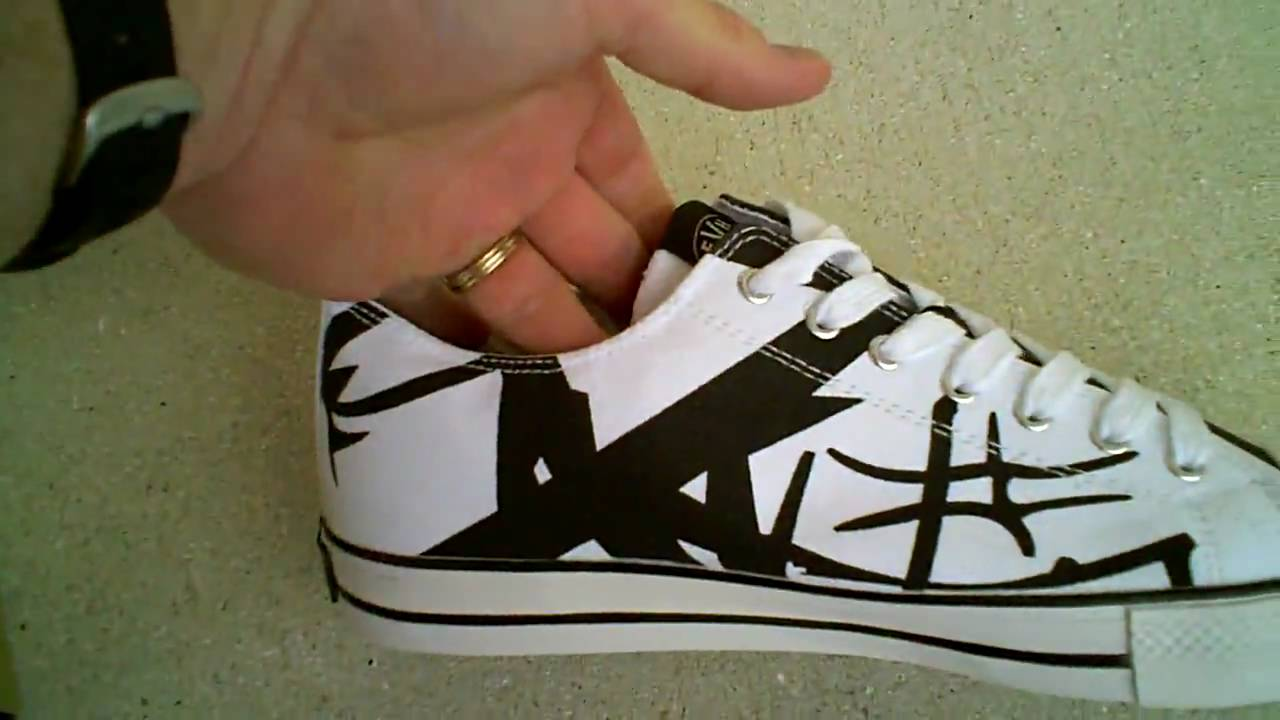 9d1131a3ffd055 Eddie Van Halen EVH White Black Low-Top Tennis Shoes - YouTube