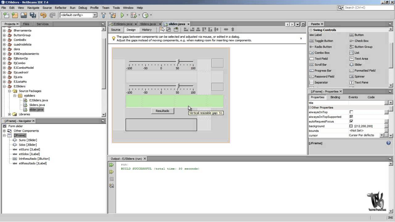 Java NetBeans Slider