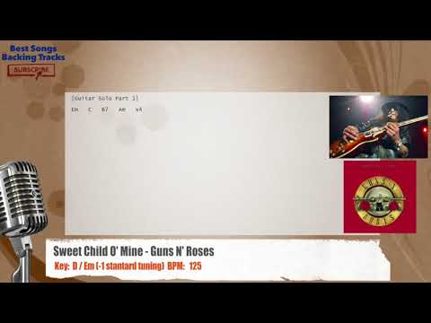 Sweet Child O' Mine - Guns N' Roses Vocal Backing Track with chords and lyrics