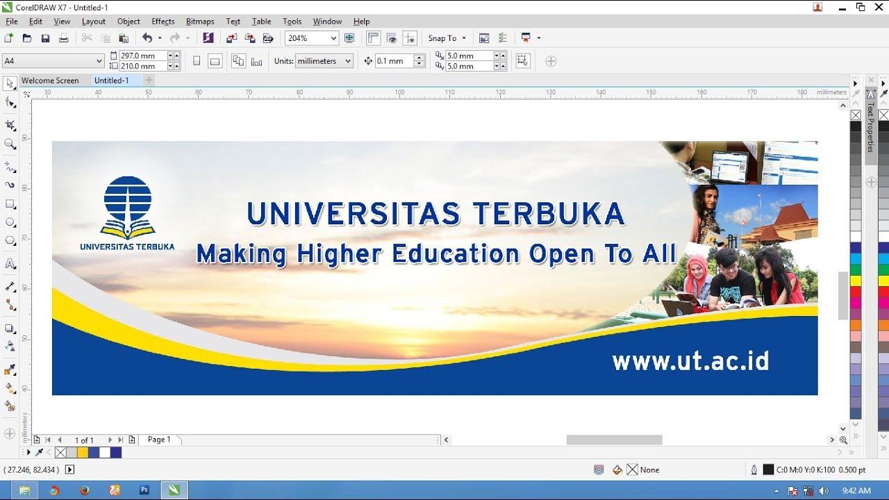Cara Membuat Desain Banner Universitas Terbuka Coreldraw X Untuk Pemula Dan Profesional