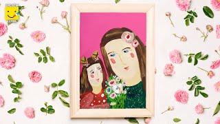 Как нарисовать маму? Пошаговый урок рисования красками для детей от 4 лет