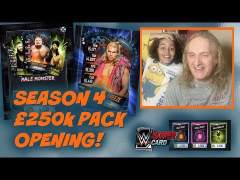 WWE SuperCard Season 4 : 250k Credits and 50K Battle Points Pack Opening!!