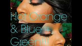 NYX Hot Orange & Blue + Green Inspired By BataLash Beauty!!!!!! Thumbnail