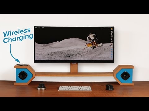 DIY monitor stand with hidden wireless charging and speakers