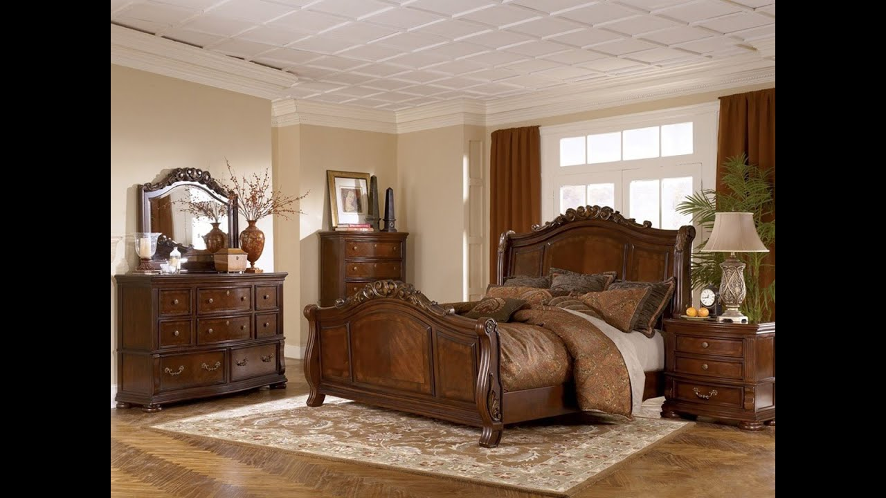 ashley furniture bedroom set marble top - youtube