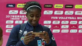 Miryam Sylla commentates great point between Italy & China