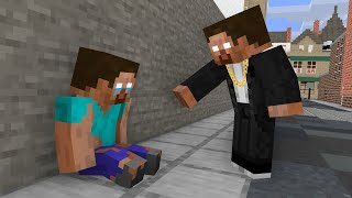Monster School : POOR and RICH HEROBRINE BECAME BEST FRIENDS - Minecraft Animation
