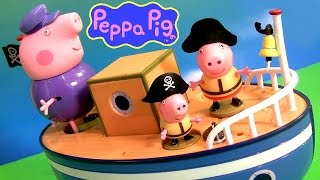 Play Doh Pirate Peppa Pig On Grandpa's Boat Muddy Puddle Bathtime Toys - Barco Del Abuelo Playdough