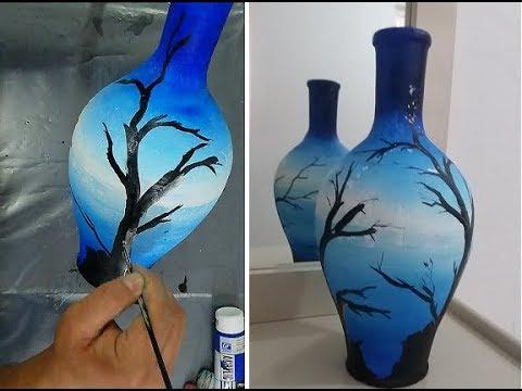Easy pot painting using acrylic/ DIY pot painting: Decoration