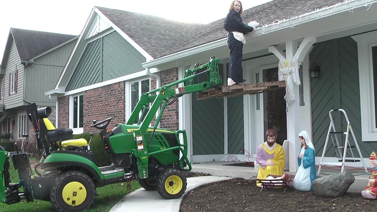 medium resolution of deere 1025r christmas light installation with loader ladder christy s new bodycovers