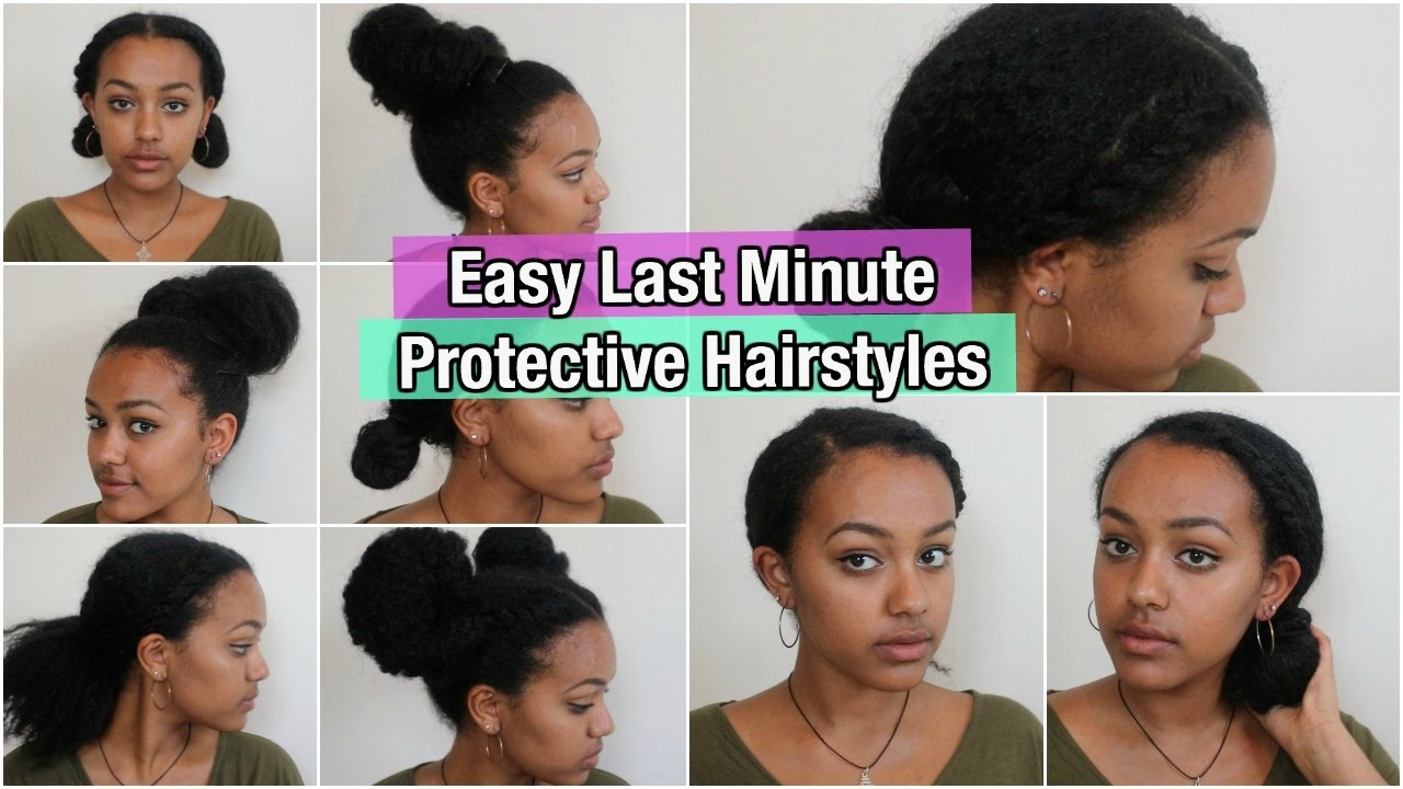 5 quick & easy protective hairstyles on natural hair | thick/ medium length hair
