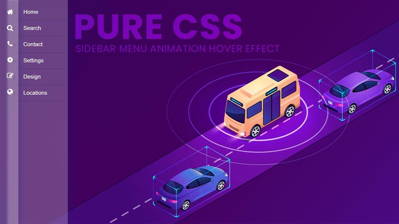 Pure CSS Creative Sidebar Nav menu with Glassmorphism Effect on Hover - Pure CSS Sidebar