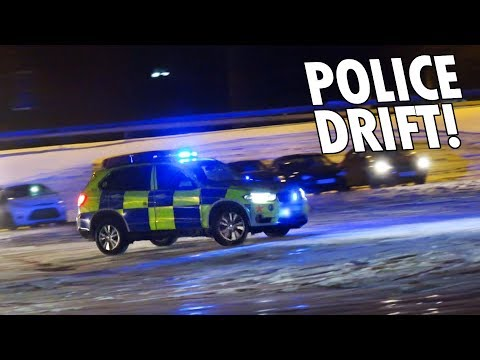 REAL Police Car Joins Drifters in Snow!!