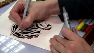 Traditional Flash - How To Draw and Paint Tattoo Flash Tutorial - Tiger, Panther, Rose
