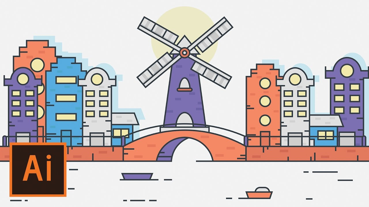 Illustrator tutorial windmill city landscape flat design for Flat design pictures