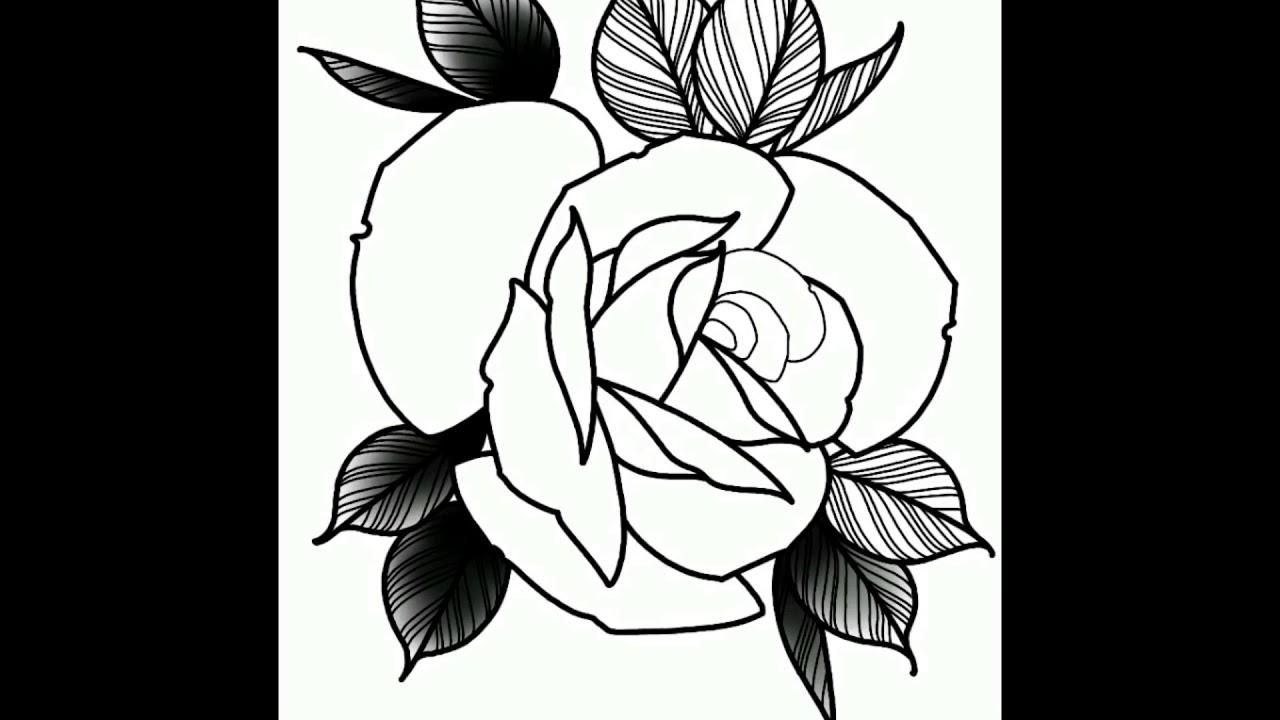 8526097e6 Rose tattoo flash in ProCreate - YouTube