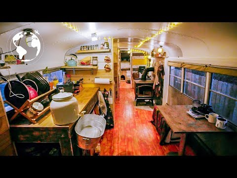 SCHOOL BUS converted to TINY HOME by High School STUDENTS