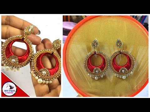 How To Make SilkThread Chandbali Pearl Earrings | Chandbali Earrings | Hairstyles And Fashions