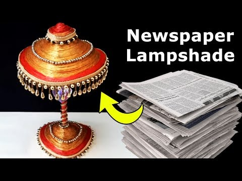 DIY Newspaper Craft Lampshade | How to Make Easy Recycled Craft from Newspaper | Best Out of Waste