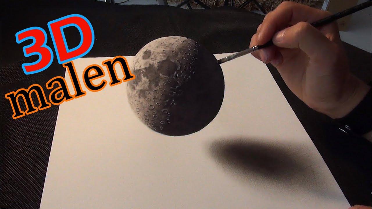 3D Zeichnung Eines Mondes/ Illusionsmalerei   YouTube