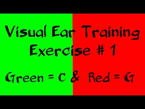beginner ear training exercise with colour | Note C = Green & G = Red | listen note with colours #1