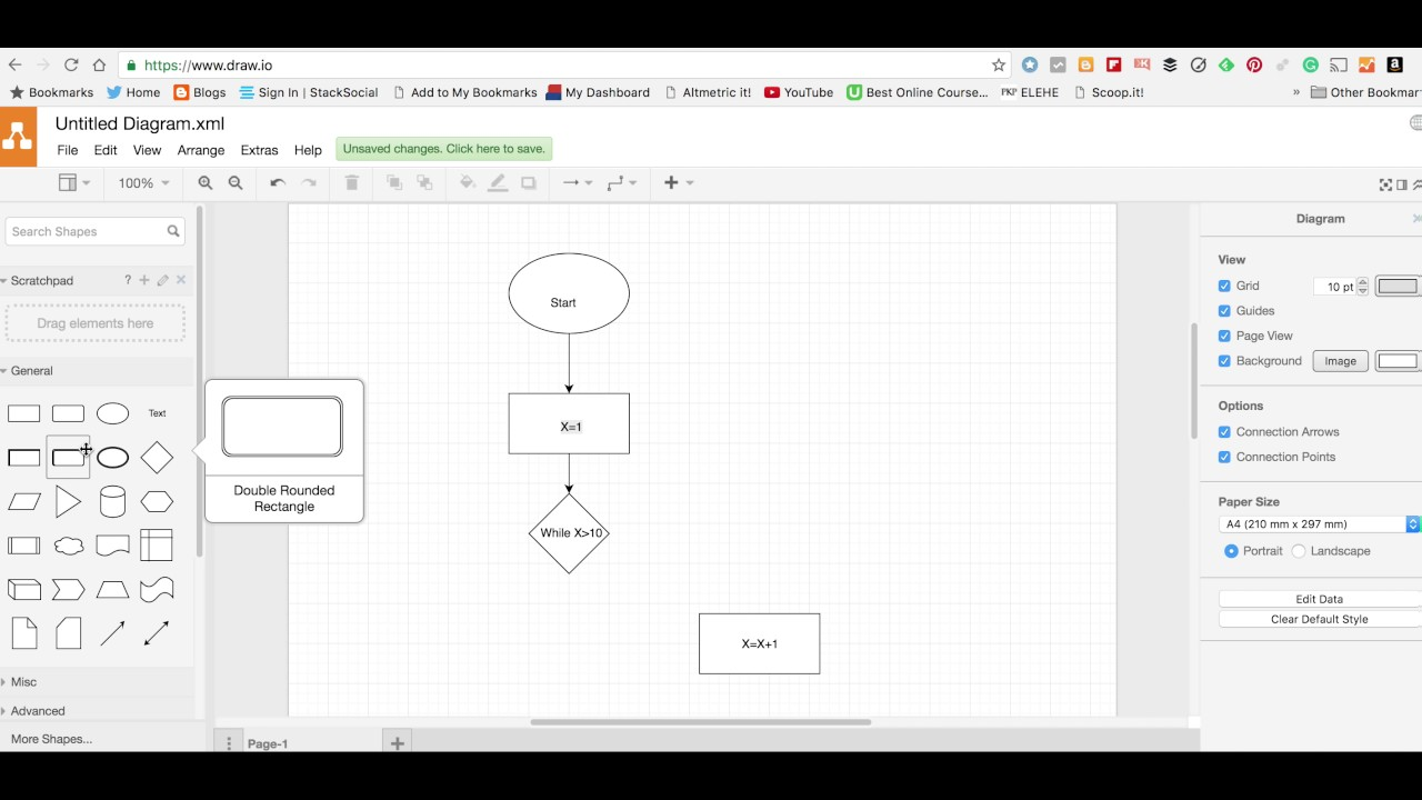 How To Use Www Draw Io To Produce A Flowchart Youtube