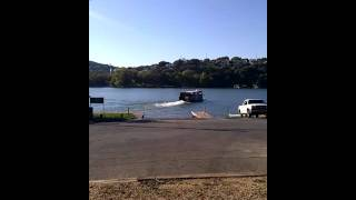 Austin duck boat tour going into water