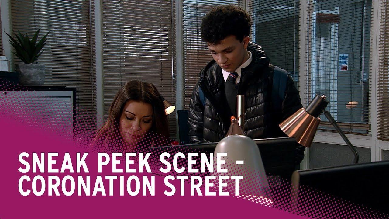 coronation street spoilers carla helps simon watch the scene