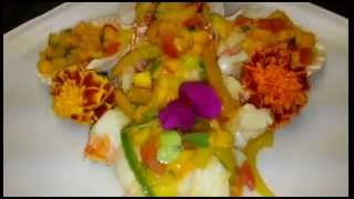 Spiny Lobster Tail In Garlic & Bell Peppers & Mango Papaya Puree