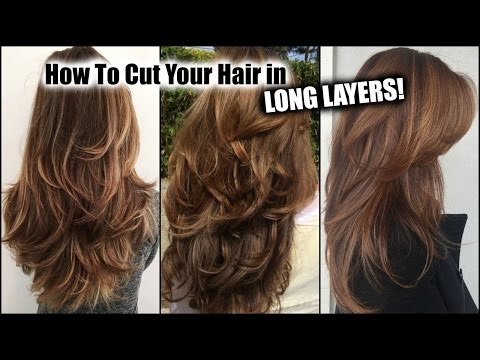 How Cut My Hair At Home In Long Layers Long Layered Haircut Diy At Home Updated