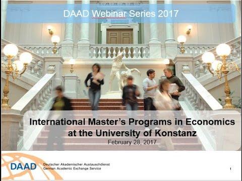 Webinar  International Master's Programs in Economics at the University of Konstanz