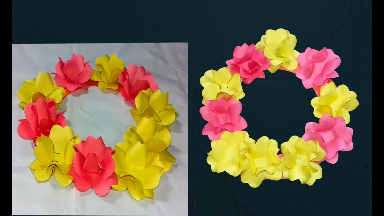 Origami Paper Flower Wreathpaper Flower Wreath 2018 Youtube