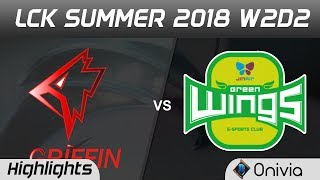 GRF vs JAG Highlights Game 2 LCK Summer 2018 W2D2 Griffin vs JinAir Green Wings by Onivia