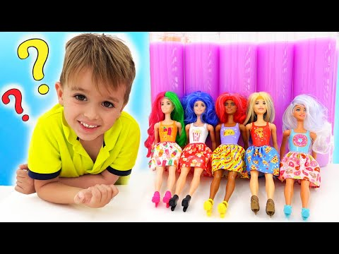 Vlad And Nikita Play With Barbie Color Reveal Dolls